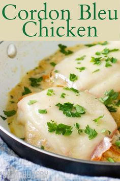 Make this classic French Cordon Bleu chicken in one skillet using simple ingredients. One Pan Chicken, Skillet Chicken, Chicken Cordon Bleu, Easy Chicken Recipes, Meat, Dinner, Breakfast, Food, Dining