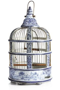 A Group of Three Dutch Delft Blue and White Birdcages Polychrome Birdcage Antique Victorian - Sold by Sotheby's Blue And White China, Blue China, Love Blue, Delft, Decoration Baroque, Bird Cages, White Decor, Chinoiserie, White Porcelain