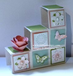 Stair Step or Baby Blocks Card/Box Fancy Fold Cards, Folded Cards, Side Step Card, Screen Cards, Exploding Box Card, Step Cards, New Baby Cards, Baby Blocks, Pop Up Cards
