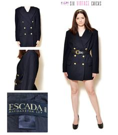 Military Jacket Women Black Blazer escada blazer 80s clothing vintage blazer suit jacket office clothes double brested made in Germany by SixVintageChicks on Etsy