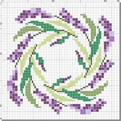 Patroon lavandel in het rond #biscornu .... bisccornu is a pincushion, but i'm thinking of using a larger x-stitch cloth to make the image large enough for a pillow or seat cover..