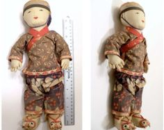 Wonderful Antique Asian Cloth Doll Chinese or Japanese fabulous shoes