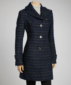 Take a look at this Navy & Gold Epaulet Wool-Blend Jacket by Kenneth Cole on #zulily today! $110 !!