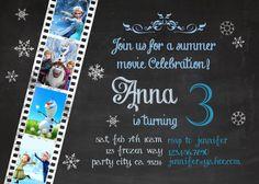 Frozen birthday invitation - Disney's Frozen - Disney Princess - Princess Anna - Elsa -Invite - Chalk - Girl Chalkboard Card - Printable