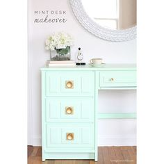 """<a href=""""http://lovegrowswild.com/2014/08/mint-desk-makeover/ThriftStore3.jpg"""" target=""""_blank""""><b>Love Grows Wild</b></a>…<b>This gorgeous Mint Desk Makeover is really something to see over at Love Grows Wild…I can't help but dream about the perfect piece that I have not found yet and how it will look in this delicious color! Liz shows you how she did and shares the DIY!</b>"""