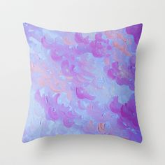 PURPLE PLUMES - Soft Pastel Wispy Lavender Clouds Lilac Plum Periwinkle Abstract Acrylic Painting  Throw Pillow by EbiEmporium - $20.00