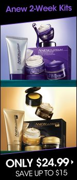 Anew 2-Week Kits Only $24.99    Newly registered direct delivery customers (shipping directly to your house from Avon) get FREE shipping to anywhere in the US with code REPFLYER. All customers get free shipping on orders over $ 30 with code FS30REP. There are always other discount shipping codes available so feel free to message me before placing an order.