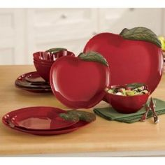 Colorful dinnerware sets from casual to formal. Favorite designs of rooster or apple dinnerware sets. Buy now, pay later with Ginny's Credit. Apple Kitchen Decor, Kitchen Rug, Red Kitchen, Kitchen Themes, Apple Decorations For Kitchen, Country Kitchen, Kitchen Cupboard, Kitchen Ideas, Apple Art
