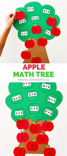 preschool Easily and simple create a fun fall learning tool for your kids with this cute apple math tree learning activity! Perfect for addition lessons! Preschool Learning Activities, Learning Tools, Early Learning, Kindergarten Activities, Educational Activities, Learning Numbers, Nursery Activities Eyfs, Dinosaurs Preschool, Sequencing Activities