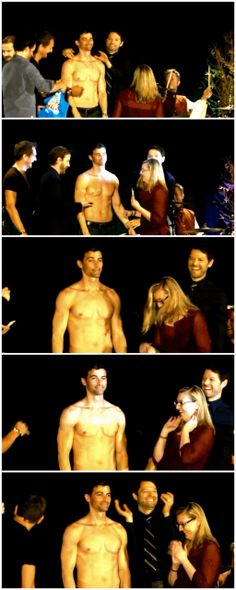 Stripping for Random Acts [gifset] part 2 - oh the trouble a bunch of angels can get into... - I want the video, I must have video of this - Matt Cohen, Sebastian Roche, Misha Collins, Richard Speight Jr, Rob Benedict