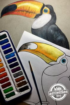 This toucan coloring page is a wonderful afternoon activity there's plently of opportunity to create a colorful bird of your own. Animal Line Drawings, Bird Drawings, Peacock Coloring Pages, Coloring Pages For Kids, Fun Arts And Crafts, Crafts For Kids, Drawing For Kids, Art For Kids, Art Drawing Images