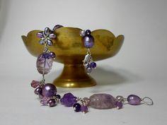 Grapes of the Vine. Amethyst Gemstone Bracelet  by HipChickJewelry