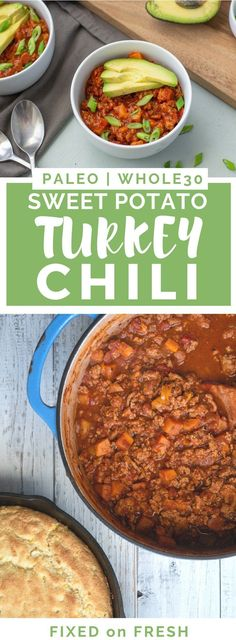 Sweet Potato Turkey Chili {Paleo & – FIXED on FRESH Sweet Potato Turkey Chili is a staple for and Paleo. It's a one pot dinner that can be served over a variety of vegetables, plus it's a kid friendly dinner too! Paleo Whole 30, Whole 30 Recipes, Chili Recipes, Paleo Recipes, Paleo Food, Delicious Recipes, Turkey Chilli, Turkey Sweet Potato Chili, Healthy Turkey Chili