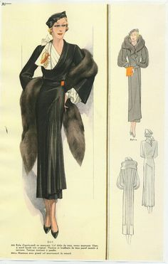 Dinner dress and Evening coat, stole