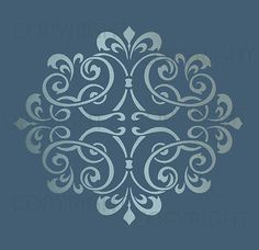 LARGE WALL DAMASK STENCIL PATTERN FAUX MURAL #1012