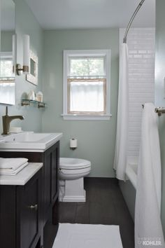 Small Bathroom Remodel Pictures Before And After - Bathroom Ideas House Bathroom, Bathroom Renos, Home, Green Bathroom, Trendy Bathroom, Bathroom Remodel Pictures, Painting Bathroom, Remodel Bedroom, Bathroom Design