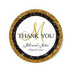 Glitter Gold Black Thank You Wedding Favor Sticker