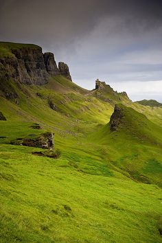 The Quiraing, Isle of Skye, Scotland. We hiked here on a beautifully warm day. The trail was very narrow and hugged the side of a very steep hill. Sheep and only a few tourists for companions!