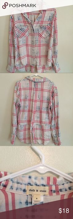 🇺🇸 Anthropologie Plaid Shirt Perfect for July 4th. Worn once, excellent condition Anthropologie Tops Button Down Shirts