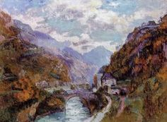 The Rhone at Saint-Maurice, Valais (also known as Switzerland) - (Albert Charles Lebourg)