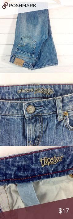 """AEO Hipster Straight Leg Jean Size 6 EUC AEO hipster Jean in great condition! Size 6. Waist 15"""" across flat. Inseam 31"""". Rise 8"""". Very slight frayed hem on one side. Zoom on 4th pic.  Not much to see, but always full disclosure provided! 🔹Please ask any questions before you purchase. 🔹No trades or holds. 🔹Bundle for best prices. Use bundle feature or ask for a custom bundle. American Eagle Outfitters Jeans Straight Leg"""