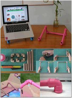 Sobraram umas peças de PVC da obra?  Com 3 pedaços associados a 6 joelhos vc constrói um stand mega criativo para o seu notebook e garante uma postura mais ergonômica para usá-lo.