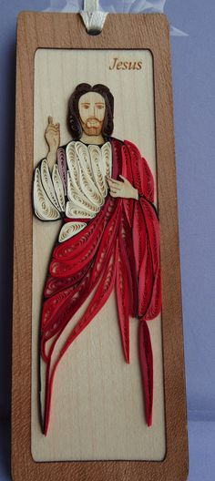 Bespoke handmade quilling bookmark. Image of Jesus by Hiquilling