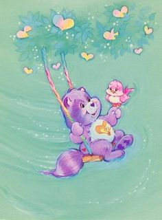 Care Bear Cousins: Bright Heart Raccoon on a Swing Cartoon Icons, Cartoon Characters, Tatty Teddy, Teddy Bear, Care Bear Tattoos, Care Bears Vintage, Care Bear Party, Bear Pictures, Favorite Cartoon Character