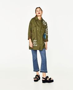 Travel Wardrobe, Military Jacket, Patches, Zara, Sequins, Camouflage Outfit, Jackets, Outfits, Shopping
