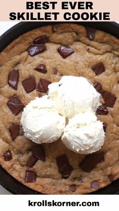 Choclate Chip Cookies, Skillet Chocolate Chip Cookie, Chocolate Cookie Recipes, Skillet Brownie, Chocolate Oreo, Chocolate Ice Cream, Easy Desserts, Delicious Desserts, Dessert Recipes