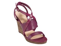Colors other than brown or black are much more rare in narrow. Look at this raspberry Pelham Strap Wedge by Cole Haan!