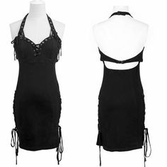 Sexy Black Halter Backless Mini Gothic Burlesque Cocktail Party Dress SKU-11402300