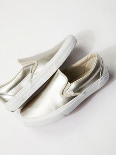 vans metallic slip-on sneakers