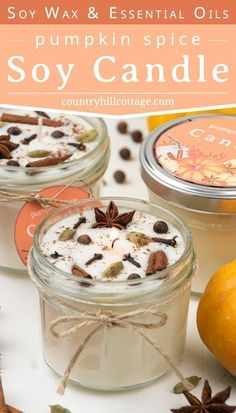 Learn how to make DIY pumpkin spices candles with soy wax and essential oils! This creative easy homemade fall scented candle recipe includes a pumpkin spice essential oil recipe, tips for the best materials and highly scented. Diy Candles Easy, Diy Candles Scented, Fall Candles, Homemade Candles, Diy Candle Ideas, Aromatherapy Candles, Yankee Candles, Diy Candles Christmas, Diy Candle Projects
