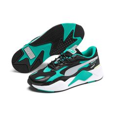 PUMA Mercedes Rs-Cube Trainers in Black/Spectra Green/White size 10 Puma Sneakers, Retro Sneakers, White Sneakers, Mercedes Amg, Racing Wallpaper, Cubes, Baskets, Sneakers Wallpaper, Amg Petronas