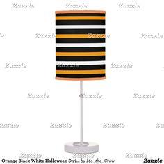 Orange Black White Halloween Stripes Table Lamp