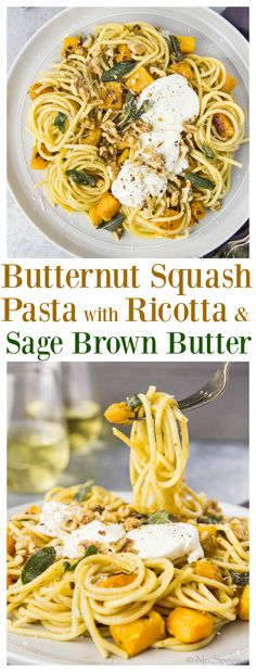 NEW:  Butternut Squash Bucatini with Ricotta & Sage Brown Butter - #MeatlessMonday Doesn't Get More Delicious Than THIS.  #FamilyPastaTime #ad