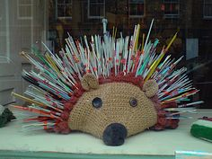 hedgehog knitting needle holder | ... giant crochet hedgehog complete with prickles. Isn't it great