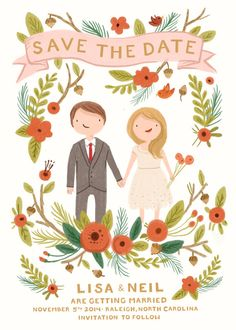 Whimsical, sweet Save the Date card -custom couple portrait illustration