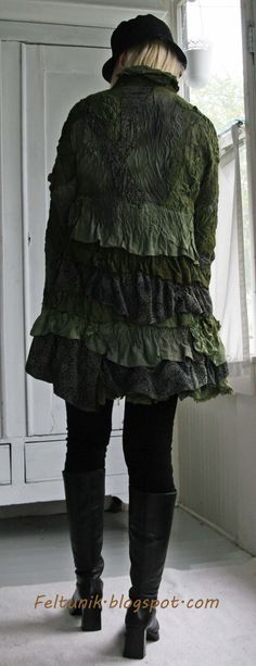 Recycled silk ruffle nuno felt jacket. Georgous!
