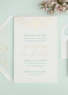 Mint and gold wedding invitation by Southern Fried Paper in styled shoot by DFW Events. Photo by Perez Photography. #wedding #invite #mint
