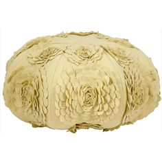 Mina Victory Poufs Floral Yellow 24 x 24-inch Round Decorative Pillow by Nourison | Overstock.com
