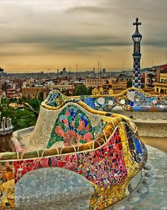 This spot in Barcelona is gorgeous! You have a view of the entire city! The park was designed by Gaudi and everything in the park is made from recycled materials already on the site. Nothing was brought in to build this park. Fair warning, it is extremely hot here when the sun is out.
