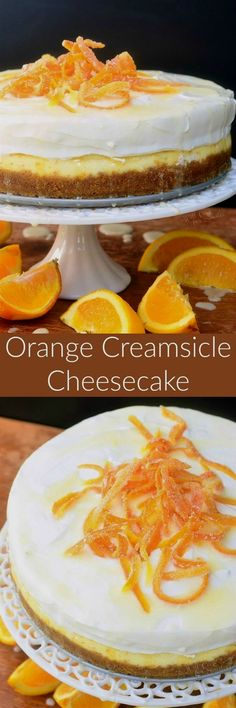 Orange Creamsicle Cheesecake - made with fresh orange flavors throughout, topped with orange whipped cream, orange glaze, and candied orange peels. Best Cheesecake, Cheesecake Desserts, No Bake Desserts, Just Desserts, Delicious Desserts, Dessert Recipes, Homemade Cheesecake, Orange Cheesecake Recipes, Chocolate Cheesecake