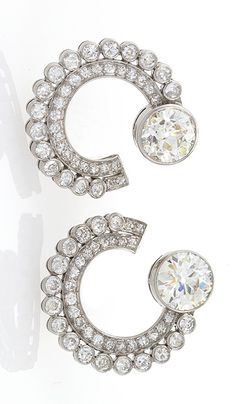 French Art Deco Diamond and Platinum Earrings
