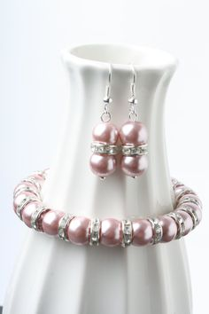 Dusty pink pearl and rhinestone jewelry set Bridesmaid