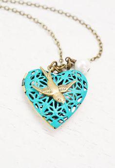 Something blue:  heart locket necklace,valentines day,bridesmaid necklace,bff friendship jewelry,matching couple necklaces,patina locket,bird locket jewelry