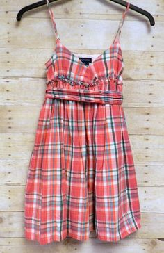 Ralph Lauren Girls Dress Size 14 Plaid Print 100% Cotton Fully Lined #RalphLauren