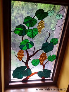 stained glass window, vine motif