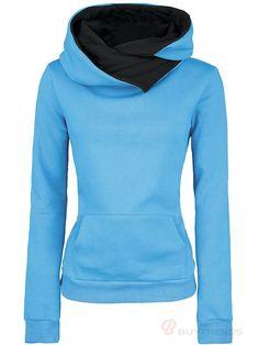 Women s Loose Leisure Hoodie Baby Blue Cotton Hoodies 86b48a1b62b0